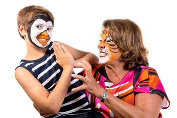 Kid and granny with face-paint