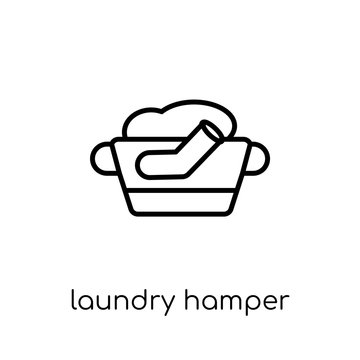 Laundry hamper icon from Furniture and household collection.