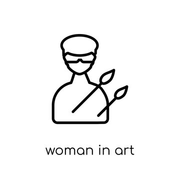 Woman In Art icon. Trendy modern flat linear vector Woman In Art icon on white background from thin line Ladies collection