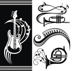Music equipment. Guitar music design. Trumpet