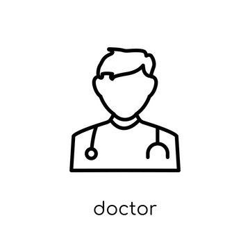 Doctor icon. Trendy modern flat linear vector Doctor icon on white background from thin line Professions collection