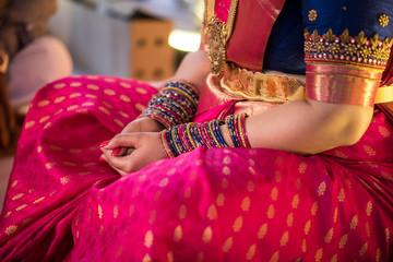 colorful silk saree , bride , traditional Hindu wedding , India