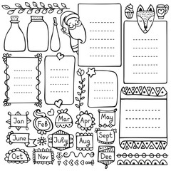 Bullet journal and Christmas doodle vector elements
