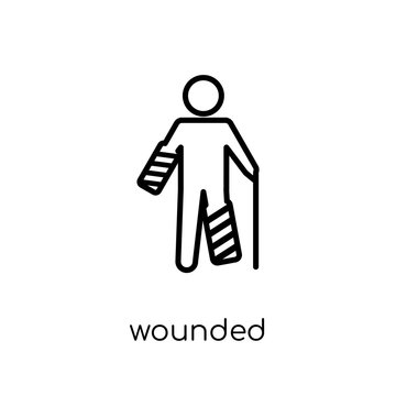 Wounded icon. Trendy modern flat linear vector Wounded icon on white background from thin line Insurance collection