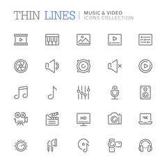 Collection of music and video related line icons