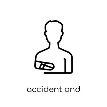 accident and injuries icon. Trendy modern flat linear vector accident and injuries icon on white background from thin line law and justice collection