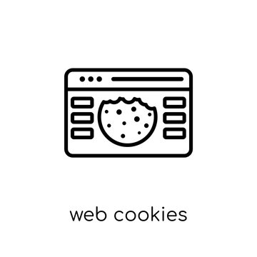 web Cookies icon. Trendy modern flat linear vector web Cookies icon on white background from thin line Internet Security and Networking collection