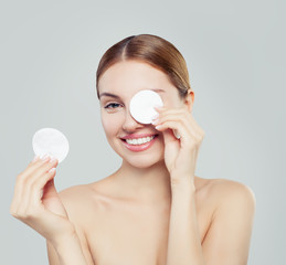 Cotton pad woman face, cosmetology and remover makeup