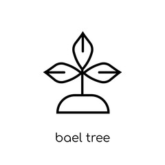 Bael tree icon. Trendy modern flat linear vector Bael tree icon on white background from thin line india collection
