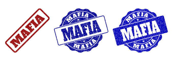 MAFIA scratched stamp seals in red and blue colors. Vector MAFIA overlays with draft effect. Graphic elements are rounded rectangles, rosettes, circles and text tags.