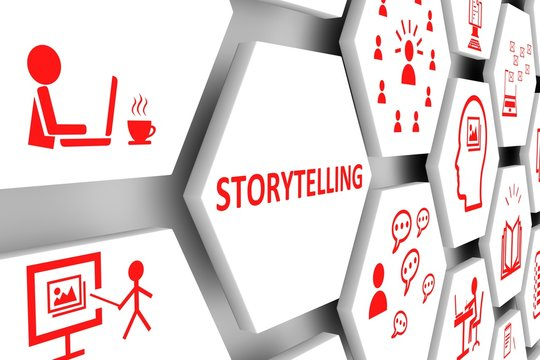 STORYTELLING concept cell background 3d illustration