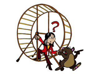 Woman getting out of the hamster wheel or comfort zone