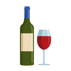 Bottle of red wine and glass isolated on white background. Vectors stock.