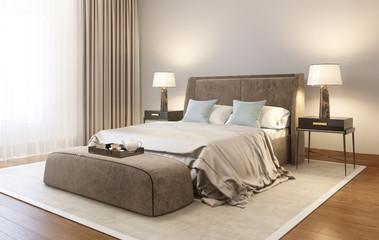 Modern velvet bedroom with carpet and wood floor