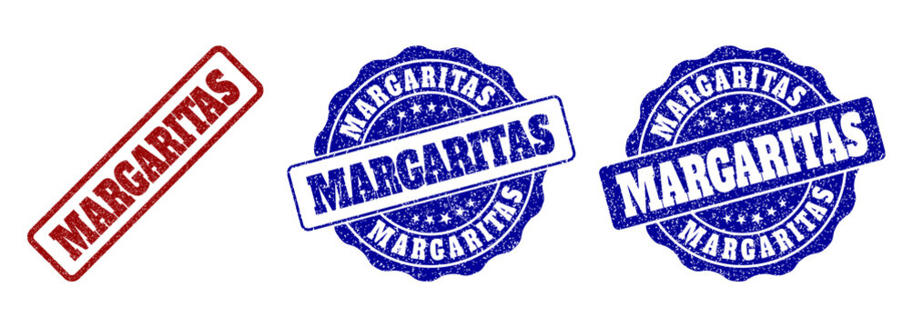 MARGARITAS scratched stamp seals in red and blue colors. Vector MARGARITAS signs with distress effect. Graphic elements are rounded rectangles, rosettes, circles and text tags.