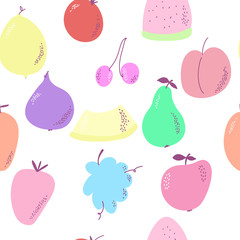 Seamless background with various fruits on white. Vector.