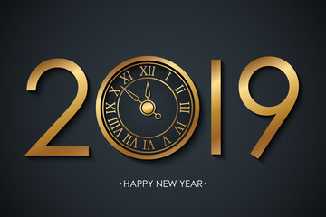 2019 New Year celebrate banner with holiday greetings Happy New Year and golden colored new year clock on black background. Vector illustration.