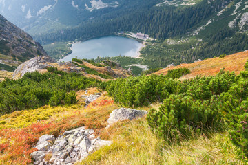 View from the mountain saddle Ostrva on The Popradske pleso lake in High Tatras National Park, Slovakia, Europe.