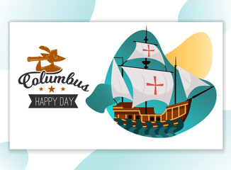 Happy Columbus Day poster with sailing ship