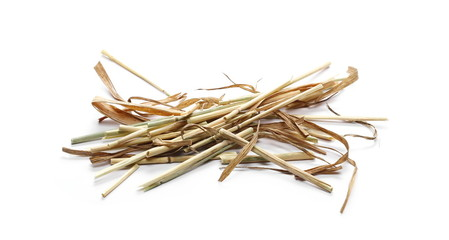Decorative straw, thatch, hay isolated on white background and texture