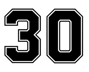 Classic Vintage Sport Jersey Number 30 in black number on white background for american football, baseball or basketball / logos and t-shirt.