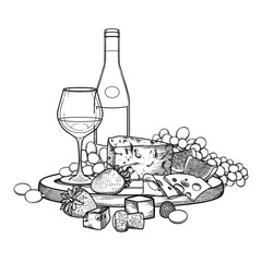 Graphic wine glass and bottle decorated with delicious food