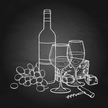 Two watercolor glasses of wine, bottle, grapes, cheese and corkscrew