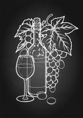 Graphic glass of wine, bottle and bunch of grapes