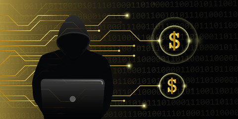 hacker steal dollars cyber crime attack vector illustration EPS10