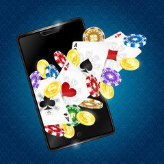 Cards and game chips in the smartphone