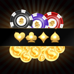 Gold coins and casino chips vector. Golden glowing suit card