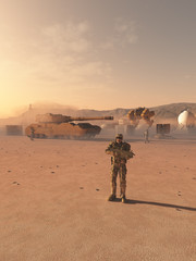 Future Space Marines Desert Camp - science fiction illustration