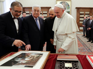 Palestinian President Mahmoud Abbas meets with Pope Francis at the Vatican