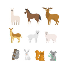 Herbivores animal set. Collection of mammal from forest