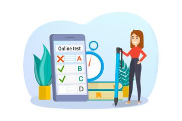 Online test concept. Quiz on the computer