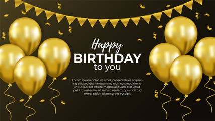 Happy Birthday banner template with 3d flying helium gold balloon and confetti. Vector illustration