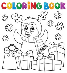 Coloring book Christmas penguin topic 5