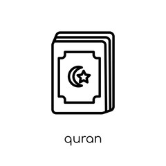 Quran icon. Trendy modern flat linear vector Quran icon on white background from thin line Religion collection