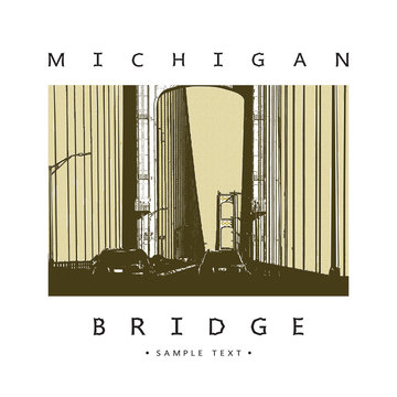Bridge - vector graphic illustration. Modern architecture - long steel suspension bridge located in the Great Lakes region in North America, Mackinac, Michigan.