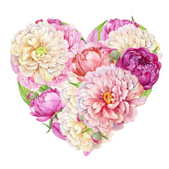 Heart of flowers, roses and peonies.Design for Valentine's day greeting card.watercolor illustration on isolated white background