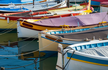 Close up on colourful fishing boats in the port of Nice in southeastern France.