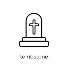 Tombstone icon. Trendy modern flat linear vector Tombstone icon on white background from thin line Religion collection