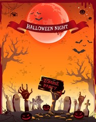 Halloween Night Zombie Party Vector Illustration