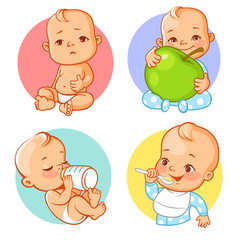 Set with cute little baby eating. Baby nutrition. Baby drink milk, formula. Child hold apple. Little boy with spoon. Stickers, smileys, emoji  for social media, messenger, Vector illustration