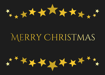 Gold stars Christmas greeting card.