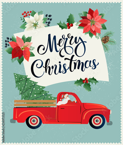 """Free Christmas Tree Pick Up: """"Merry Christmas And Happy New Year Postcard Or Poster Or"""