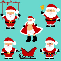 Christmas icons. Santa Claus. Collection. New Year.