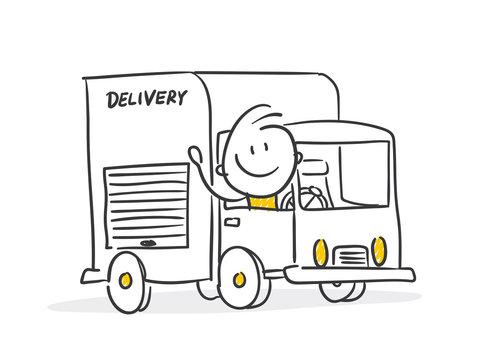Strichfiguren / Strichmännchen: Lieferung, Lastwagen. (Nr. 337)