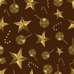 Christmas seamless pattern with golden toys, stars and candy. Festive brown and gold background.