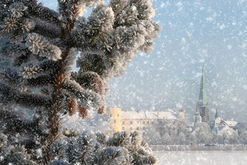 Winter landscape of Riga city